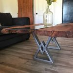 Mesquite Coffee Table with Gun Barrel Grey Powder Coated Steel Legs