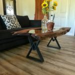Mesquite Coffee Table with Glass Center and Blue/Grey Powder Coated Steel legs