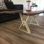 Live Edge Mesquite Coffee Table with Center Glass and Cream Colored Powder Coated Legs